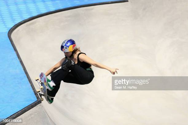 Brighton Zeuner competes in the Women's Skateboard Park Final during the ESPN X Games at US Bank Stadium on July 22 2018 in Minneapolis Minnesota