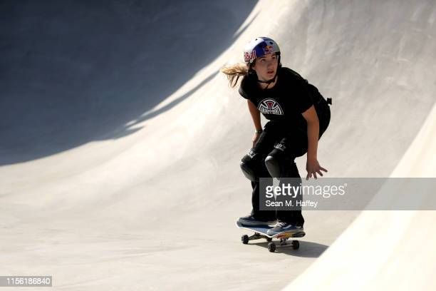Brighton Zeuner during practice for the Women's Park Final at the 2019 Dew Tour Long Beach on June 15 2019 in Long Beach California