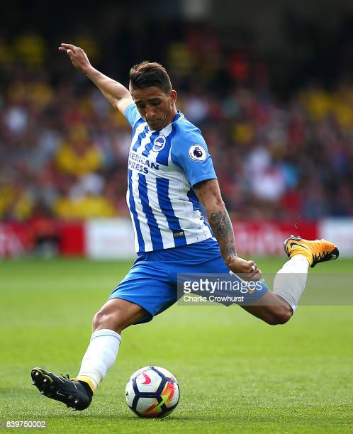Brighton's Anthony Knockaert during the Premier League match between Watford and Brighton and Hove Albion at Vicarage Road on August 26 2017 in...