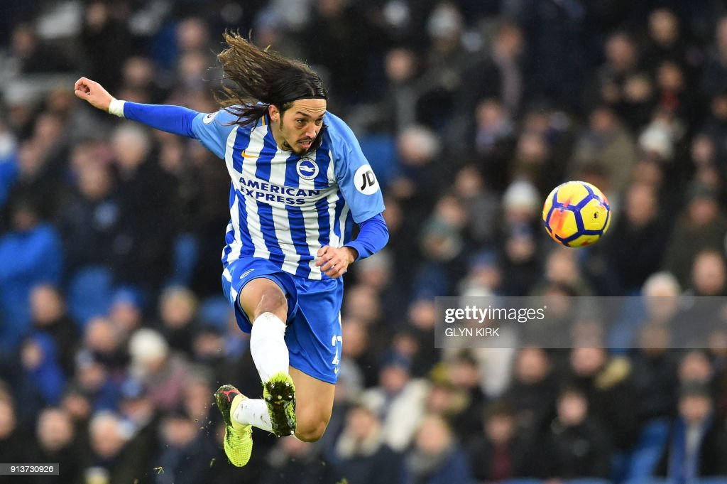 TOPSHOT - Brighton's Argentine-born Italian defender Ezequiel Schelotto controls the ball during the English Premier League football match between Brighton and Hove Albion and West Ham United at the American Express Community Stadium in Brighton, southern England on February 3, 2018. / AFP PHOTO / Glyn KIRK / RESTRICTED TO EDITORIAL USE. No use with unauthorized audio, video, data, fixture lists, club/league logos or 'live' services. Online in-match use limited to 75 images, no video emulation. No use in betting, games or single club/league/player publications. /