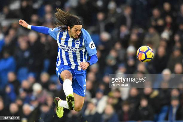 TOPSHOT Brighton's Argentineborn Italian defender Ezequiel Schelotto controls the ball during the English Premier League football match between...