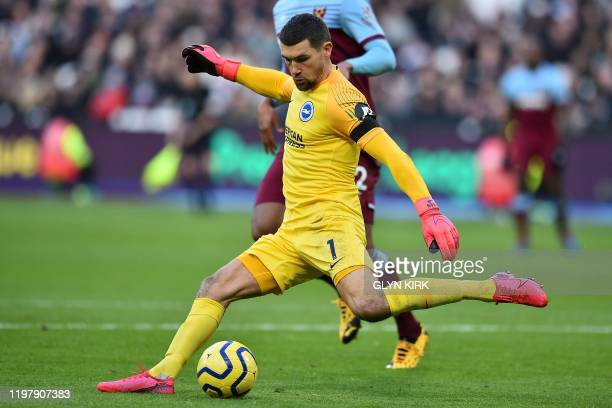 Brighton's Australian goalkeeper Mathew Ryan kicks the ball during the English Premier League football match between West Ham United and Brighton and...