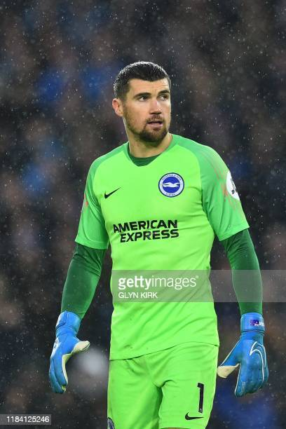 Brighton's Australian goalkeeper Mathew Ryan looks on during the English Premier League football match between Brighton and Leicester City at the...