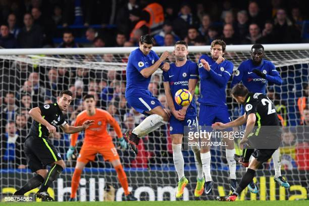 TOPSHOT Brighton's Austrian defender Markus Suttner takes a freekick during the English Premier League football match between Chelsea and Brighton...