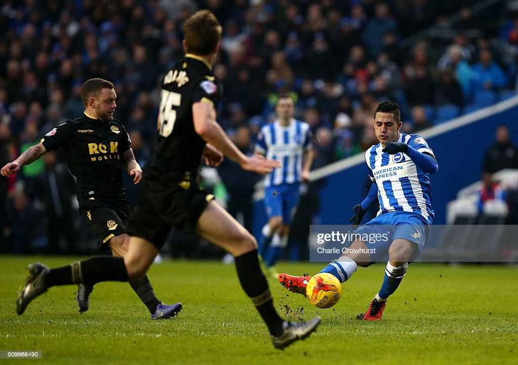 Brighton's Beram Kayal scores the team's third goal of the game during the Sky Bet Championship match between Brighton and Hove Albion and Bolton Wanderers at The Amex Stadium on February 13, 2016 in Brighton, England.