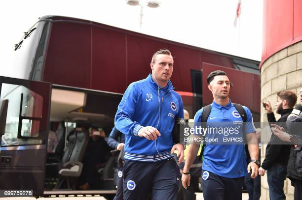 Brighton's David Stockade and Richie Towell arrive at the stadium prior to the game