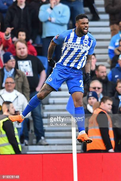 Brighton's Dutch striker Jurgen Locadia celebrates after scoring the opening goal of the English FA Cup fifth round football match between Brighton...