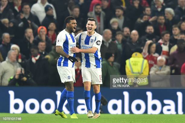 Brighton's Dutch striker Jurgen Locadia celebrates scoring their first goal to equalise 11 during the English Premier League football match between...