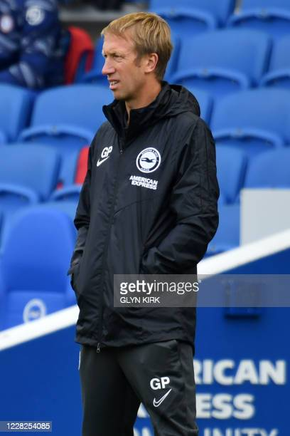 Brighton's English manager Graham Potter looks on from the touchline during the pre-season friendly football match between Brighton and Hove Albion...
