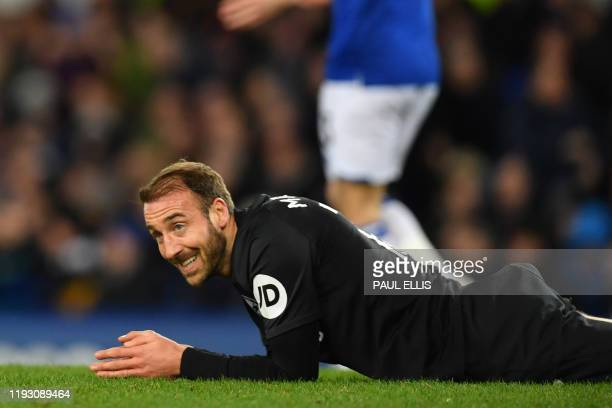 Brighton's English striker Glenn Murray gestures during the English Premier League football match between Everton and Brighton Hove and Albion at...