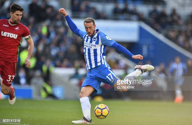 Brighton's English striker Glenn Murray has an unsuccessful shot during the English Premier League football match between Brighton and Hove Albion...