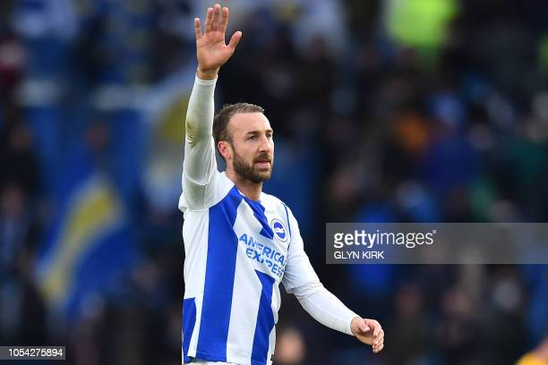 Brighton's English striker Glenn Murray reacts to their win on the pitch after the English Premier League football match between Brighton and Hove...