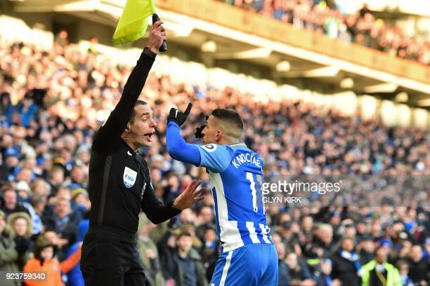 Brighton's French midfielder Anthony Knockaert appeals to the assistant referee after a goal is disallowed during the English Premier League football...
