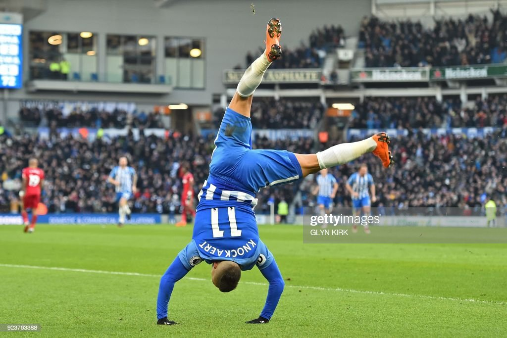 Brighton's French midfielder Anthony Knockaert celebrates after scoring their third goal during the English Premier League football match between Brighton and Hove Albion and Swansea City at the American Express Community Stadium in Brighton, southern England on February 24, 2018. / AFP PHOTO / Glyn KIRK / RESTRICTED TO EDITORIAL USE. No use with unauthorized audio, video, data, fixture lists, club/league logos or 'live' services. Online in-match use limited to 75 images, no video emulation. No use in betting, games or single club/league/player publications. /