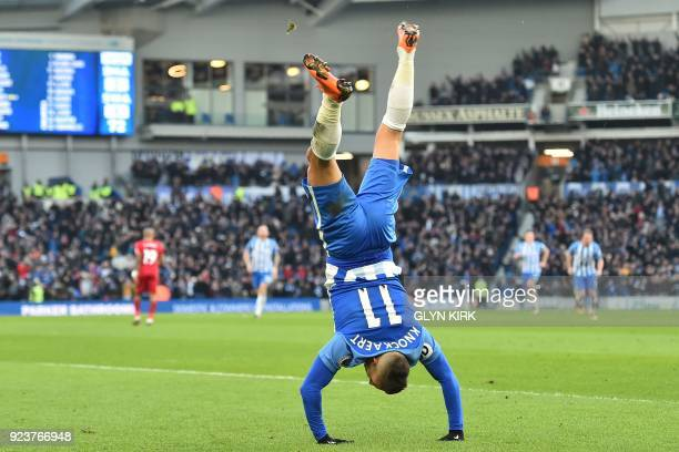 Brighton's French midfielder Anthony Knockaert celebrates after scoring their third goal during the English Premier League football match between...