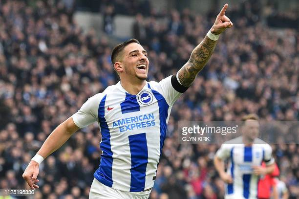 Brighton's French midfielder Anthony Knockaert celebrates scoring the opening goal during the English FA Cup fifth round football match between...