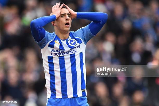 Brighton's French midfielder Anthony Knockaert reacts after missing a chance during the English Premier League football match between Brighton and...