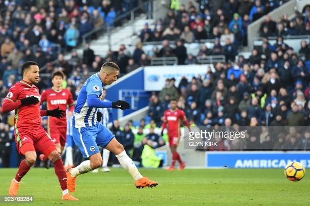 Brighton's French midfielder Anthony Knockaert scores their third goal during the English Premier League football match between Brighton and Hove...