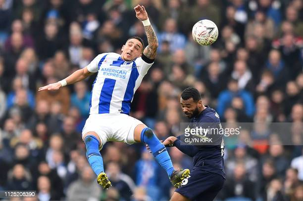 Brighton's French midfielder Anthony Knockaert vies with Derby County's English midfielder Ashley Cole during the English FA Cup fifth round football...