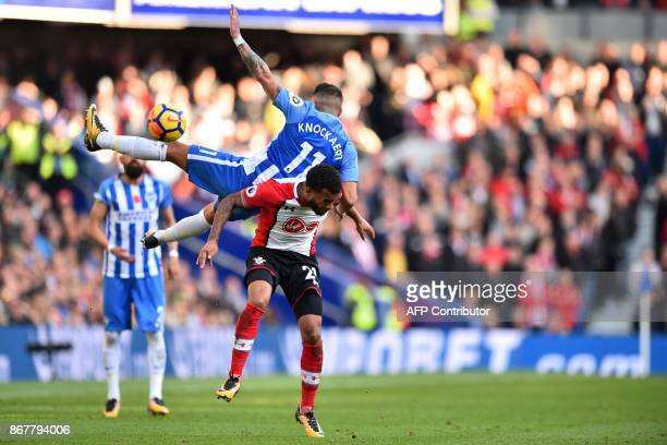 Brighton's French midfielder Anthony Knockaert vies with Southampton's English defender Ryan Bertrand during the English Premier League football...