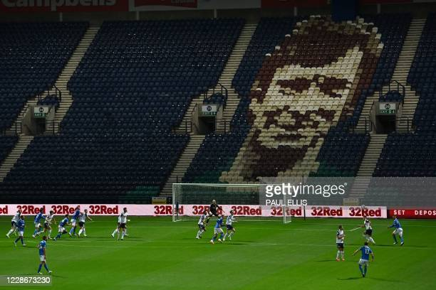 Brighton's German midfielder Pascal Gross takes a free kick during the English League Cup third round football match between Preston North End and...