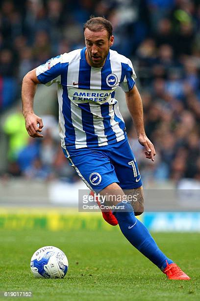 Brighton's Glenn Murray attacks during the Sky Bet Championship match between Brighton Hove Albion and Norwich City at Amex Stadium on October 29...