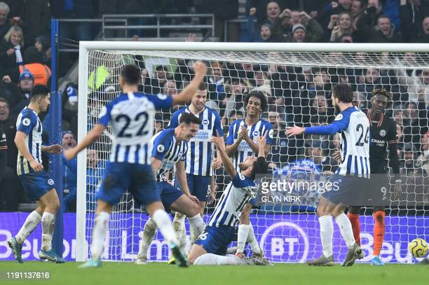 Brighton's Iranian midfielder Alireza Jahanbakhsh celebrates after scoring during the English Premier League football match between Brighton and Hove...