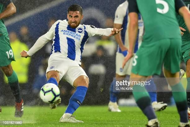 Brighton's Iranian midfielder Alireza Jahanbakhsh has an unsuccessful shot during the English Premier League football match between Brighton and...