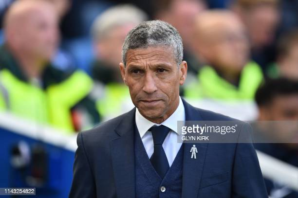 Brighton's Irish manager Chris Hughton arrives for the English Premier League football match between Brighton and Hove Albion and Manchester City at...