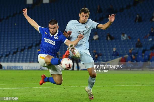 Brighton's Irish striker Aaron Connolly and Chelsea's Danish defender Andreas Christensen compete during the English Premier League football match...