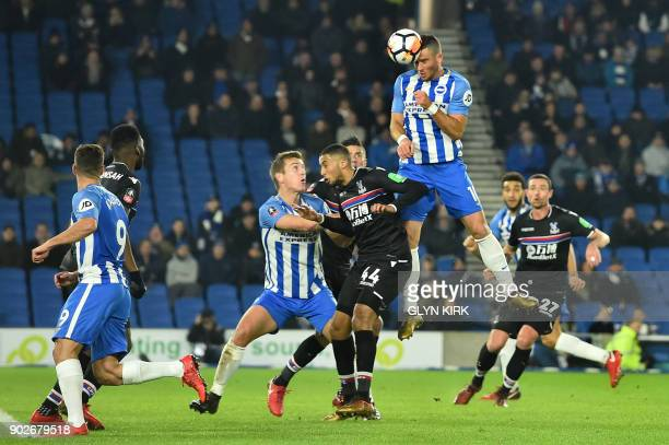 Brighton's Israeli striker Tomer Hemed heads towards goal during the English FA Cup third round football match between Brighton and Hove Albion and...