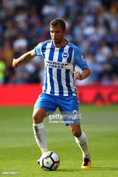 Brighton's Markus Suttner during the Premier League match between Watford and Brighton and Hove Albion at Vicarage Road on August 26 2017 in Watford...