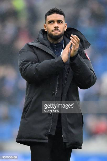 Brighton's new signing Brighton's Dutch striker Jurgen Locadia is introduced to the crowd ahead of the English Premier League football match between...