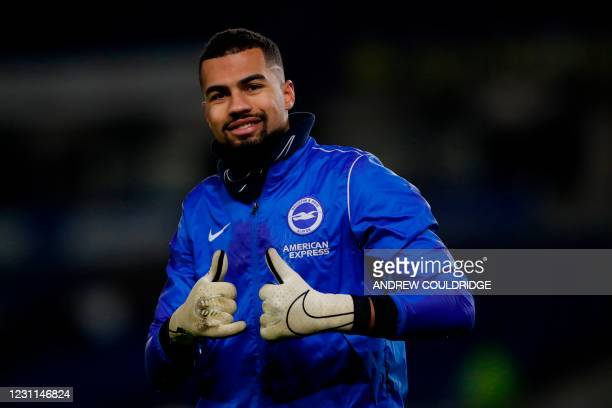 Brighton's Spanish goalkeeper Robert Sanchez gives a thumbs up ahead of the English Premier League football match between Brighton and Hove Albion...