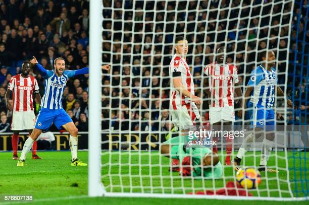 Brighton's Spanish midfielder Jose Izquierdo turns away after scoring an equalising goal for 22 during the English Premier League football match...