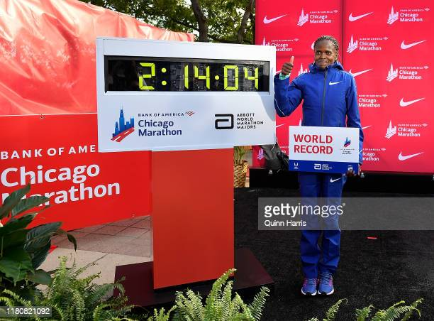 Brigid Kosgei of Kenya poses for a photo after breaking the world record to win the 2019 Bank of America Chicago Marathon on October 13 2019 in...