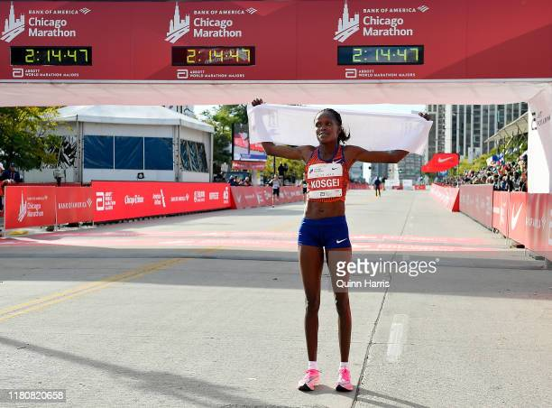 Brigid Kosgei of Kenya reacts after wining the 2019 Bank of America Chicago Marathon on October 13 2019 in Chicago Illinois