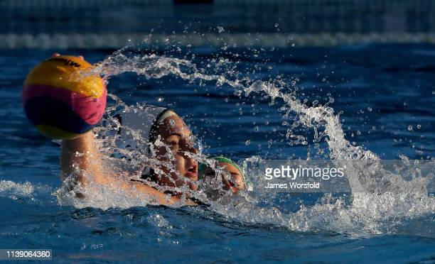 Brigitta Games of the United States of America attempts to pass the ball during the 2019 FINA World League InterContinental Cup Woman's match between...