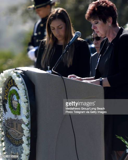 Brigitta Hirai speaks at the memorial service for her son Gardena Police Officer Toshio Hirai at Green Hills Memorial Park in Rancho Palos Verdes on...