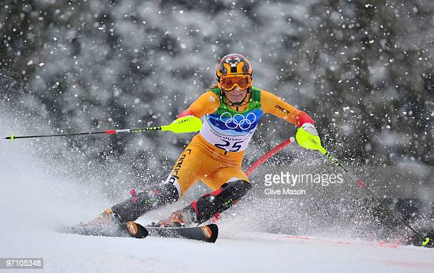 Brigitte Acton of Canada competes during the Ladies Slalom first run on day 15 of the Vancouver 2010 Winter Olympics at Whistler Creekside on...