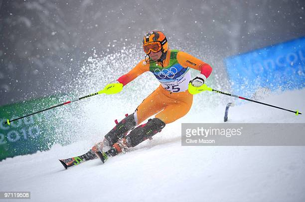 Brigitte Acton of Canada competes during the Ladies Slalom second run on day 15 of the Vancouver 2010 Winter Olympics at Whistler Creekside on...