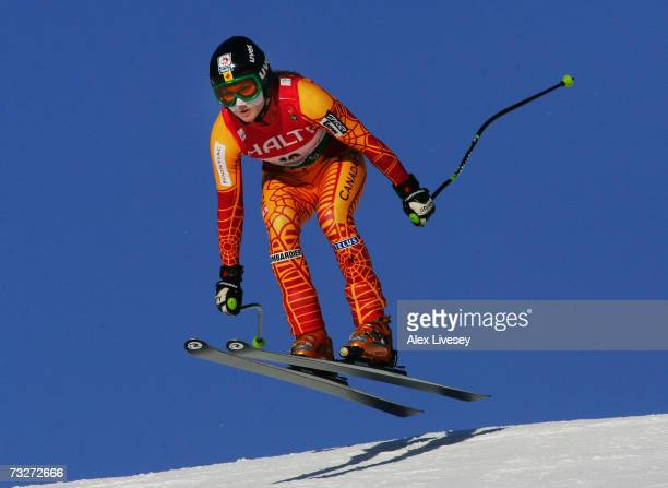 Brigitte Acton of Canada competes during the Womens Super Combined Downhill on day seven of the FIS World Ski Championships on February 9 2007 in Are...