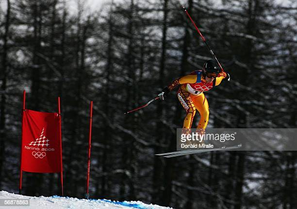 Brigitte Acton of Canada competes in the Downhill section of the Womens Combined Alpine Skiing competition on Day 8 of the 2006 Turin Winter Olympic...