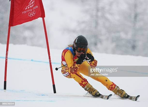 Brigitte Acton of Canada competes in the Final of the Womens Alpine Skiing Giant Slalom on Day 14 of the 2006 Turin Winter Olympic Games on February...