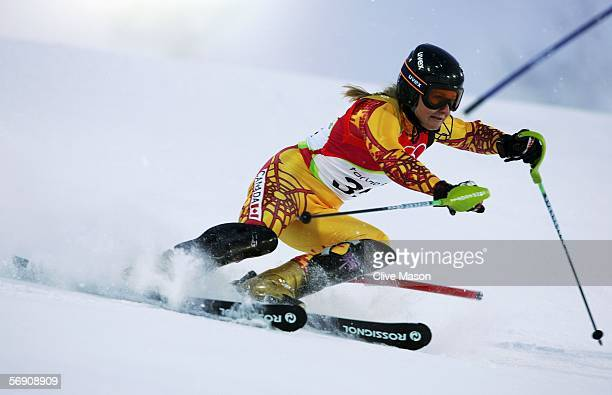 Brigitte Acton of Canada competes in the second run of the Womens Alpine Skiing Slalom Final on Day 12 of the 2006 Turin Winter Olympic Games on...