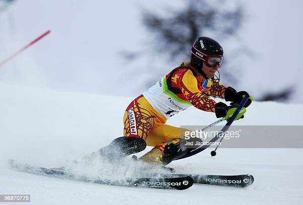 Brigitte Acton of Canada competes in the Slalom section of the Womens Combined Alpine Skiing competition on Day 7 of the 2006 Turin Winter Olympic...