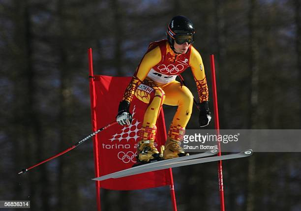 Brigitte Acton of Canada competes in the Womens Alpine Skiing Downhill Training on Day 3 of the 2006 Turin Winter Olympic Games on February 13 2006...