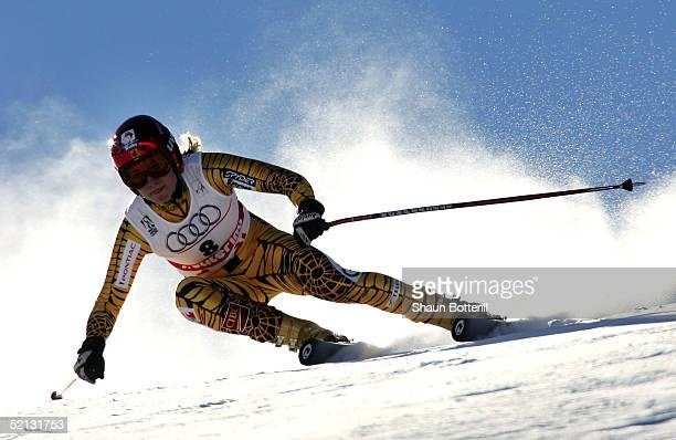 Brigitte Acton of Canada in action during the Womens Combined Downhill at the FIS Alpine World Ski Championships 2005 on February 4 2005 in Bormio...