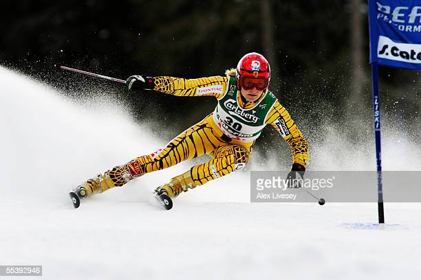 Brigitte Acton of Canada in action during the Womens Giant Slalom at the FIS Alpine World Ski Championships 2005 on February 8 2005 in Bormio Italy