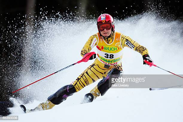 Brigitte Acton of Canada in the Womens Slalom 1st run at the FIS Alpine World Ski Championships 2005 on February 11 2005 in Bormio Italy